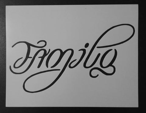 """One Love"" / ""Family"" AMBIGRAM - Stencil"