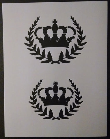 French Leaves with Crown Decor - Stencil