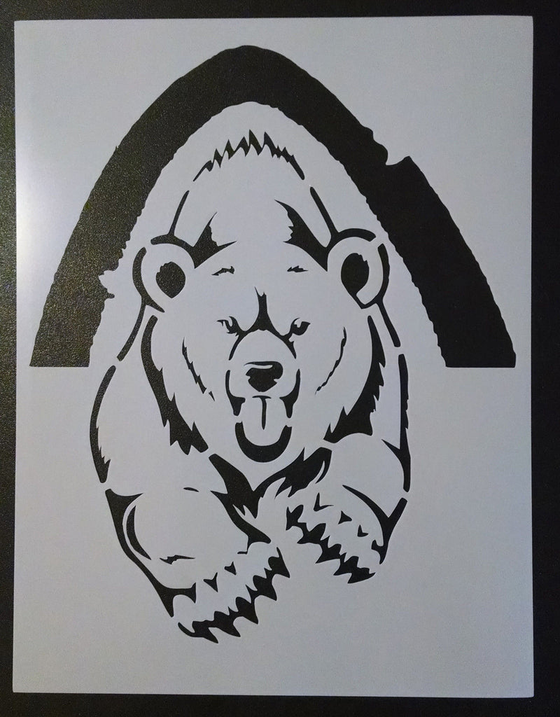 Grizzly Bear Running Out Of Cave - Stencil