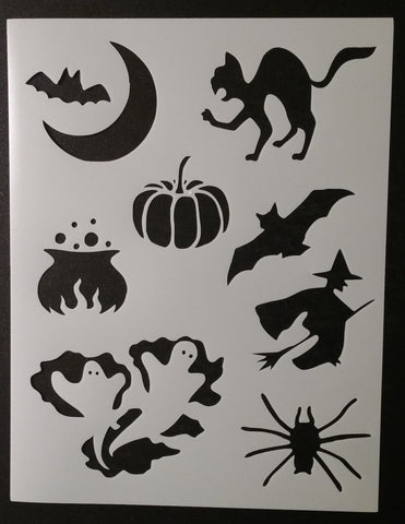 Halloween Bat Cat Pumpkin Witch Etc Decorations - Stencil
