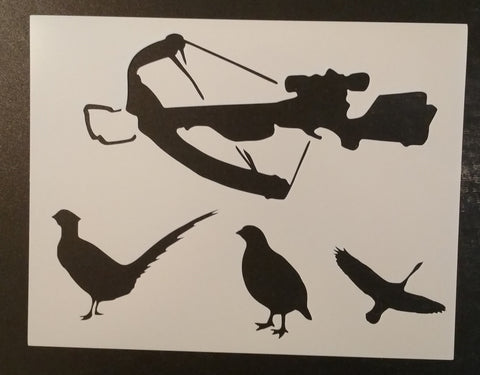 Cross Bow with Pheasants / Birds - Stencil
