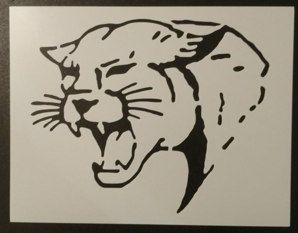 Cougar Wildcat Face Stencil