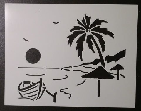 Beach Boat Sun Birds Palm Tree Fun In The Sun Stencil