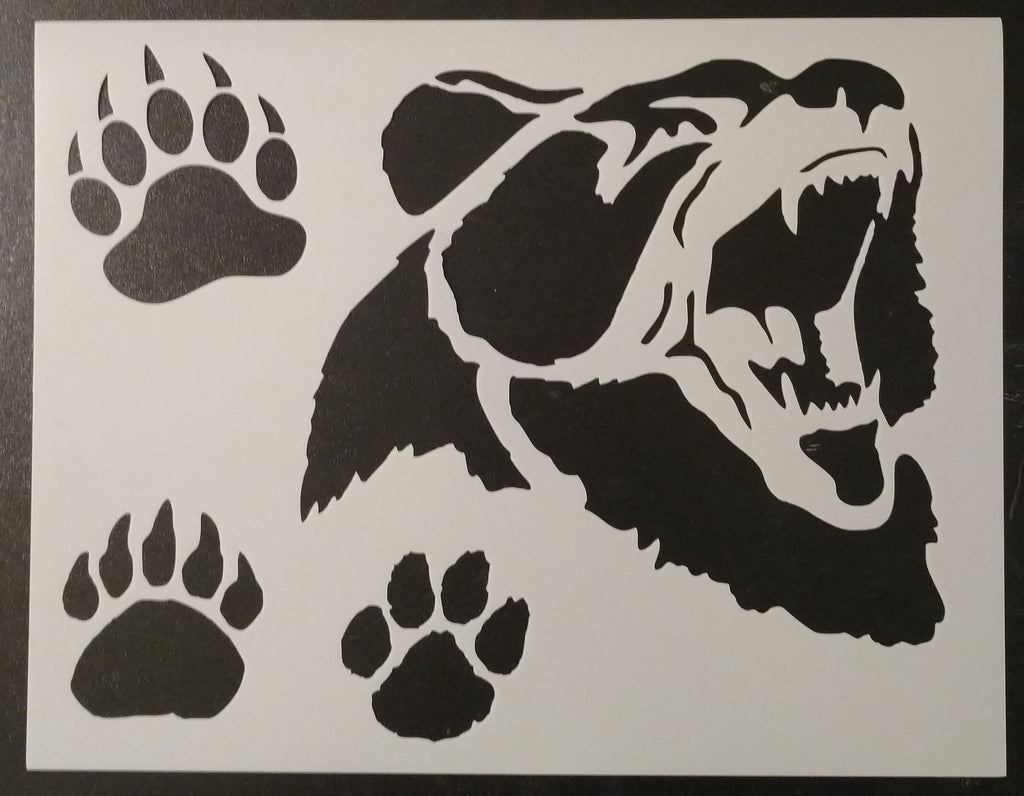 Grizzly Bear Face With Grizzly and Brown Bear Paw Prints Stencil
