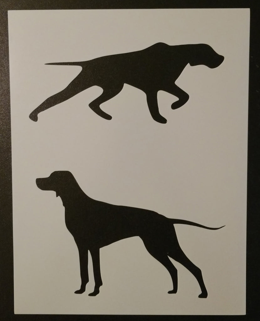 2 English Setter Silhouettes on one stencil sheet.