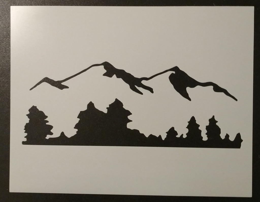 Mountains and Trees - Stencil