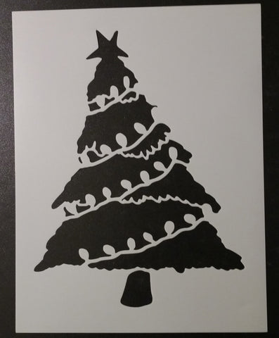 "Christmas Tree with Lights - 8.5"" x 11"" Stencil"