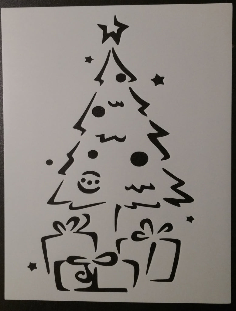"Christmas Tree with Gifts / Presents - 8.5"" x 11"" Stencil"