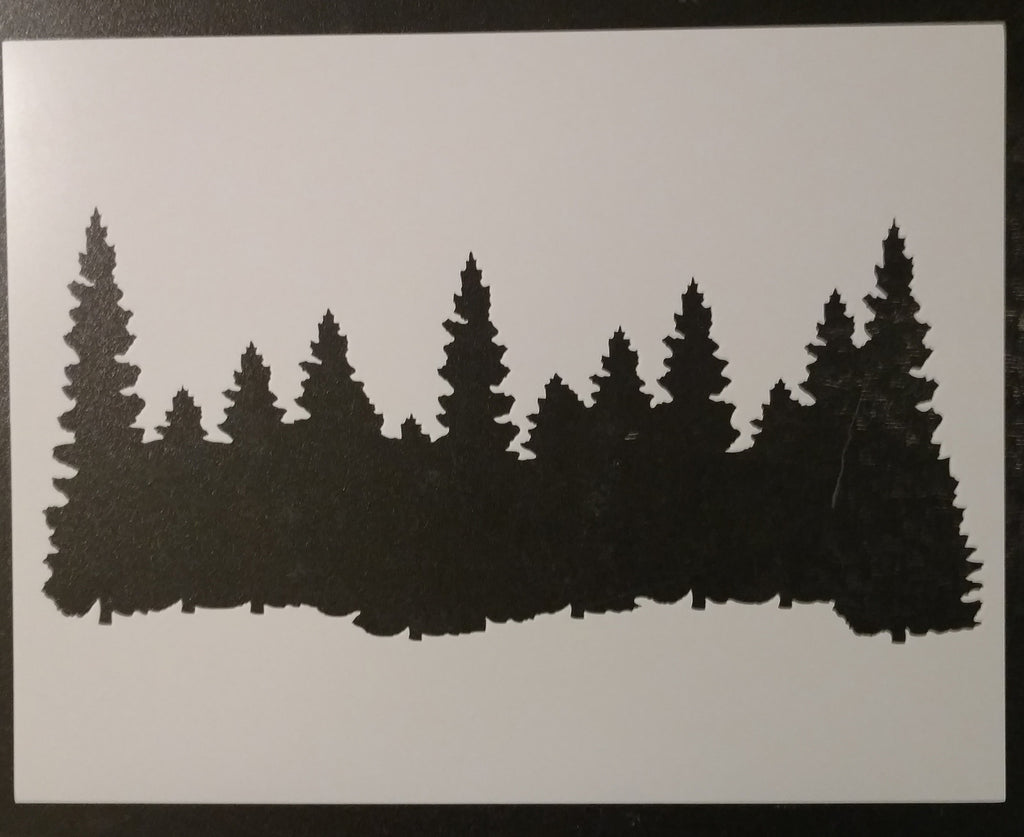 "Forest / Pine Trees 11"" x 8.5"" Smokey Mountains Stencil"
