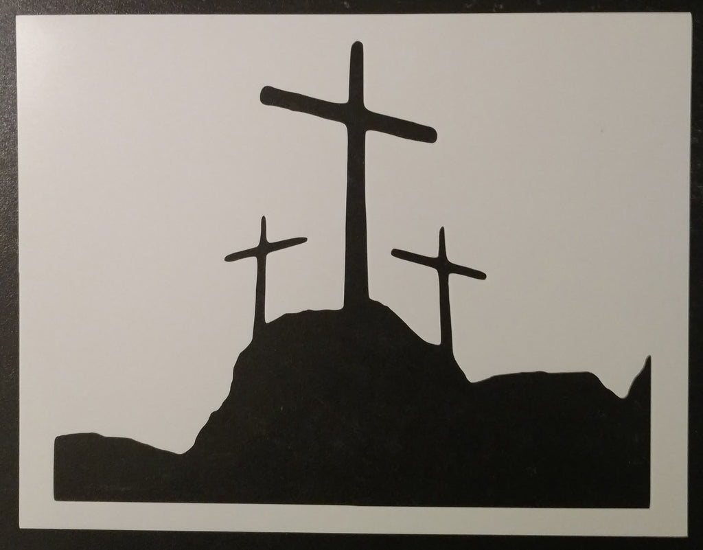 Three Crosses On A Hill - Stencil