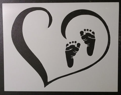 "Baby Footprints in Heart 11"" x 8.5"" Stencil"