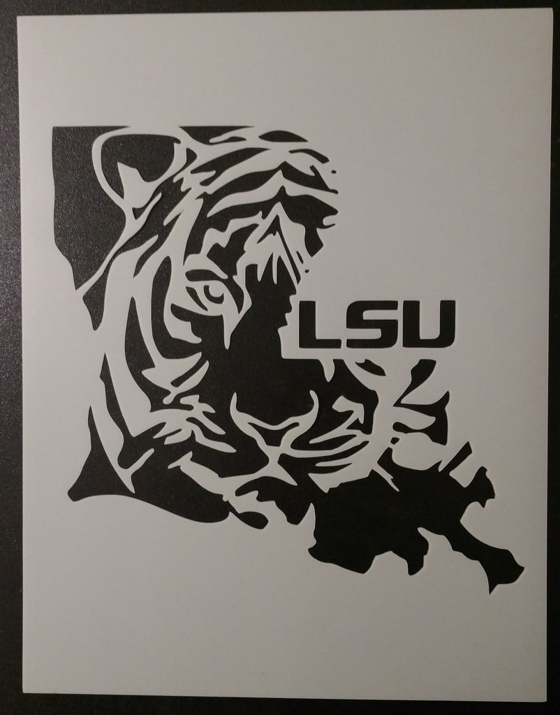 Louisiana State Shaped LSU Tigers - Stencil