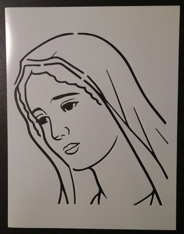 Virgin Mary Face - Stencil