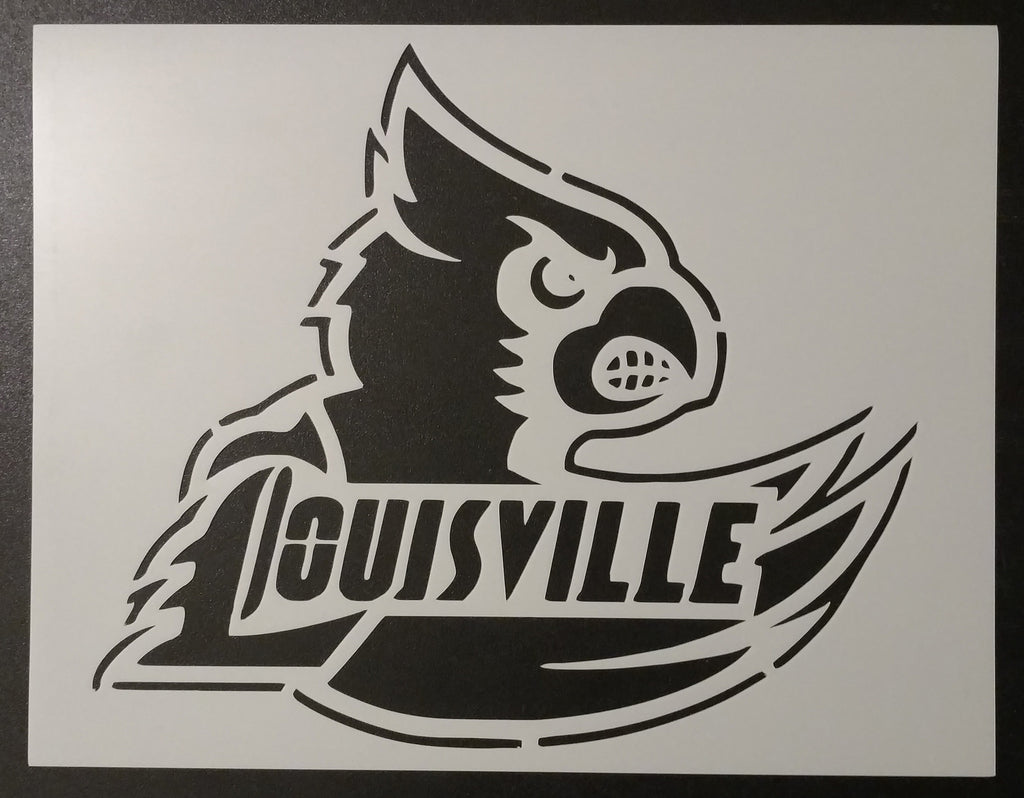 Louisville Cardinals Cards Basketball - Stencil