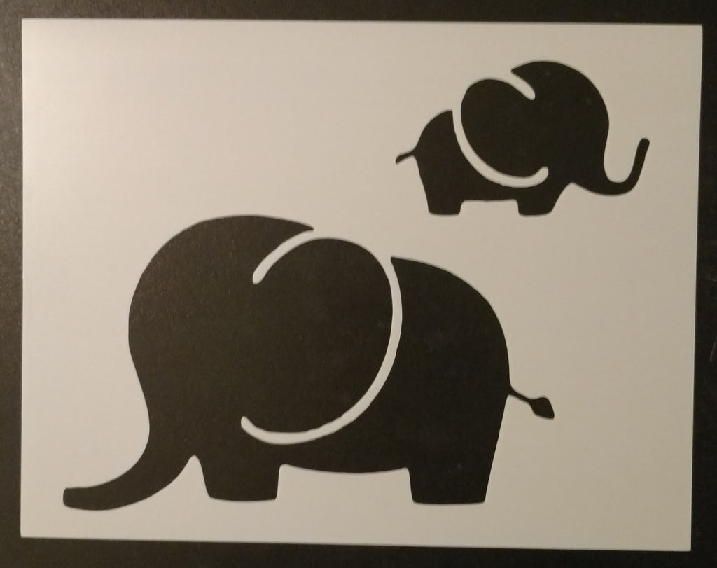 Mom and Baby Elephant - Stencil