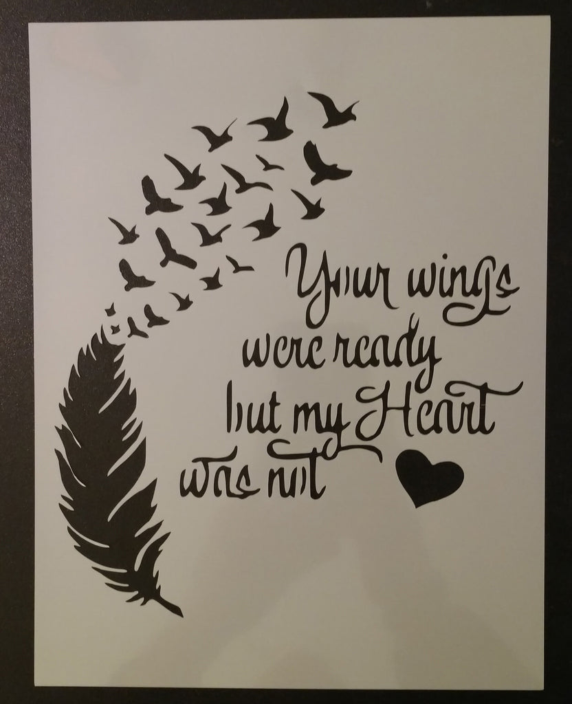 Wings Ready Heart Not Feather Birds - Stencil