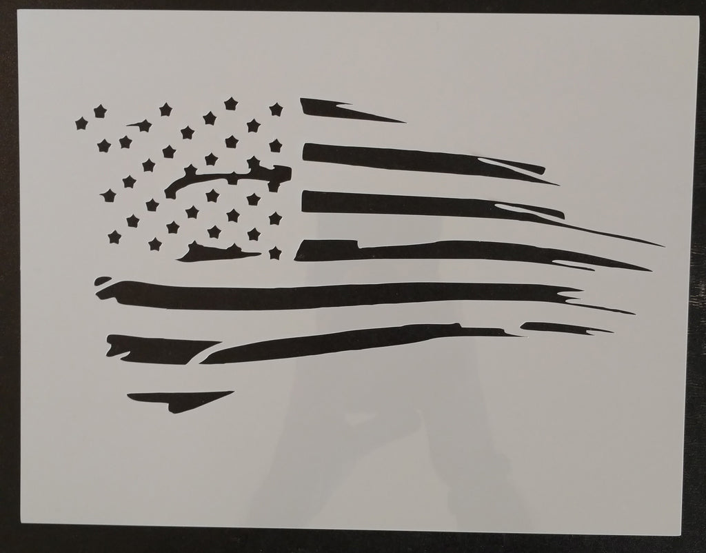 US Distressed American Waving Flag - Stencil