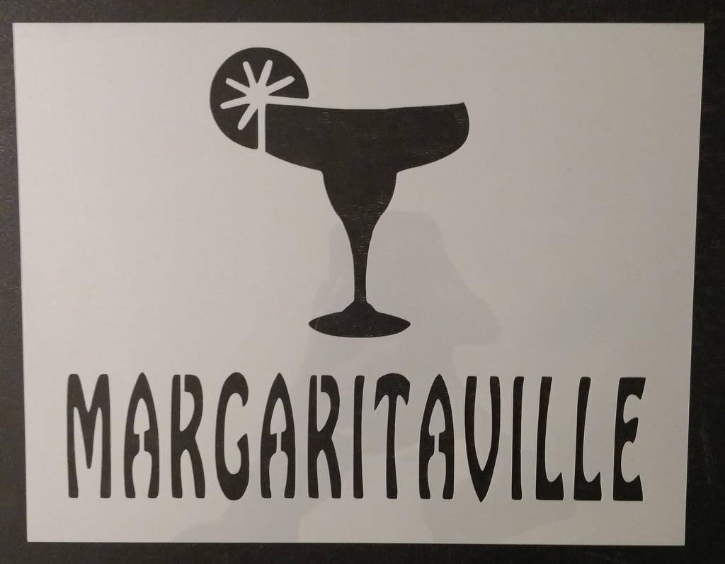 "Margaritaville Lime and Margarita Glass 11"" x 8.5"" Custom Stencil"