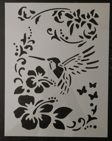 Humming Bird Sablon Flower Flowers Custom Stencil