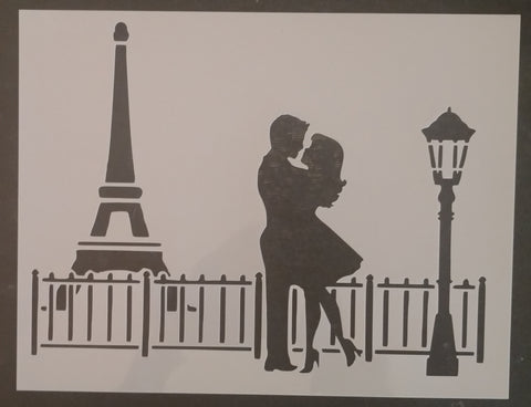 Paris Eiffel Tower Love Man Woman Kissing Custom Stencil