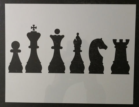 Chess Piece Pieces Knight Rook Queen King Bishop Pawn Custom Stencil