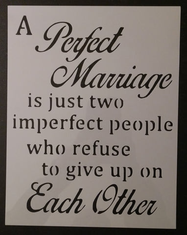 A Perfect Marriage Custom Stencil