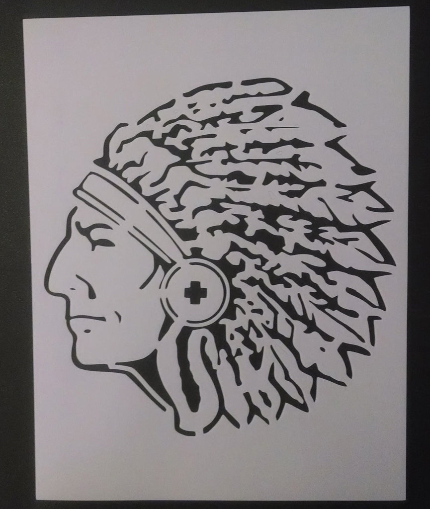 Indian Chief Head - Stencil