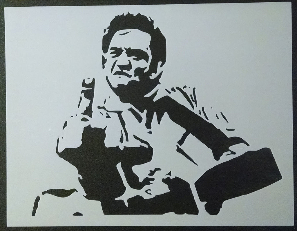 Johnny Cash Giving The Middle Finger - Stencil