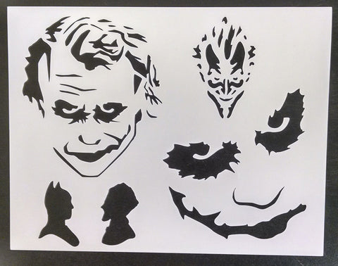 Joker Batman Faces - Stencil