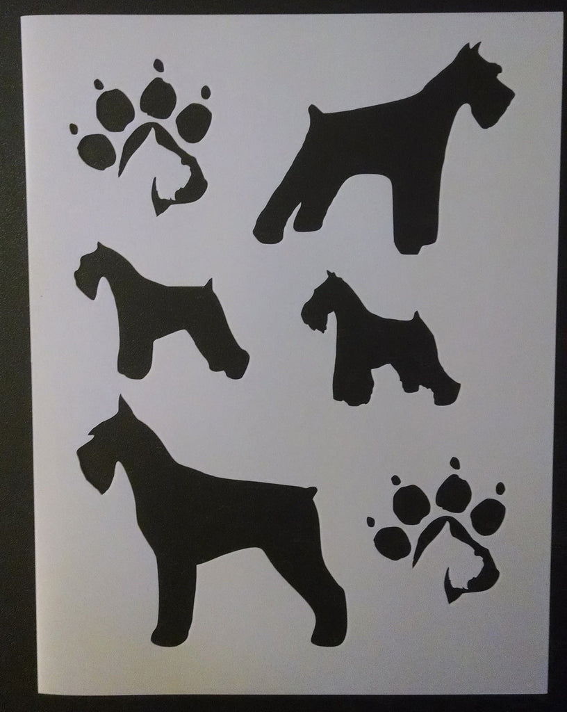 Miniature Schnauzer Dog and Paw Prints - Stencil