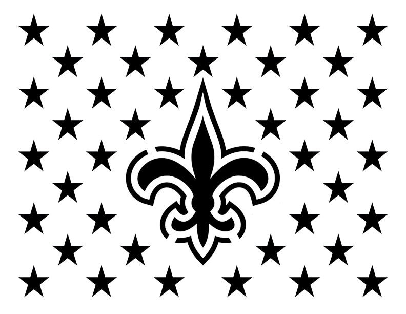 "New Orleans Saints Flag Star Stars 11"" x 8.5"" Custom Stencil"