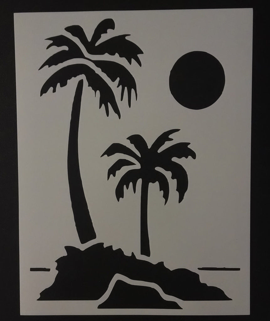 Palm Trees On Beach - Stencil