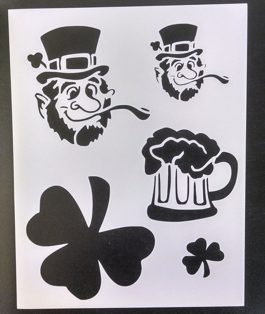Shamrock St. Patricks Day Leprechaun Beer - Stencil
