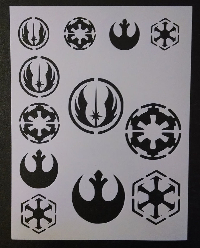 Star Wars Rebel Empire Sith Jedi Logo Seals - Stencil