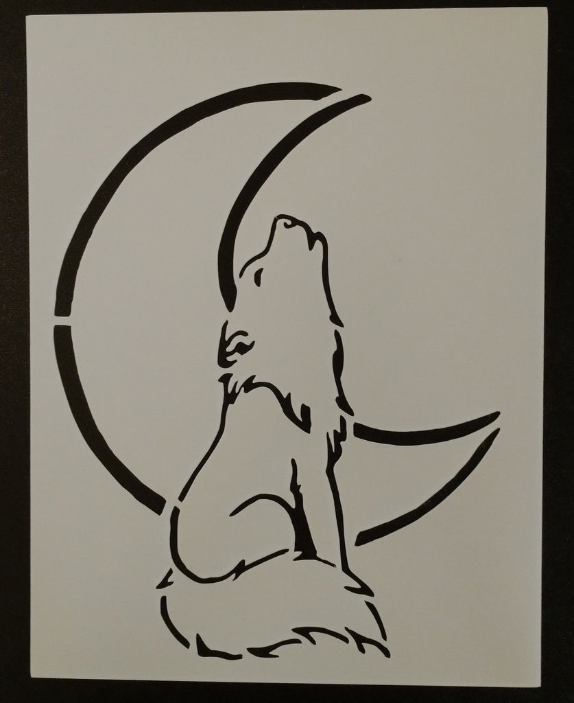 Wolf Howling At The Moon - Stencil