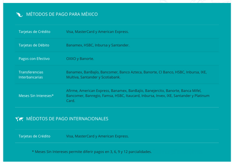 Payment Options for Mexico