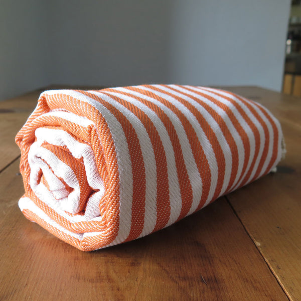 Peshtemal Striped Cotton Turkish Towel in Orange