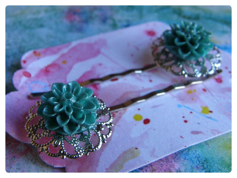 Elegant Hair Pin Pair -  Aqua Crysanthemum