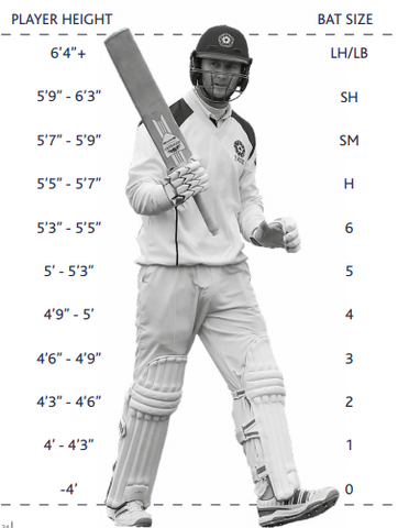 Cricket Bat Size Chart