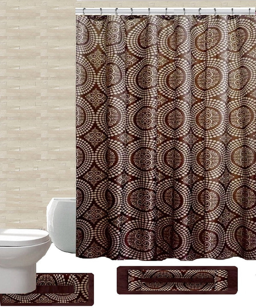 15 Piece Shower Curtain Set Linda