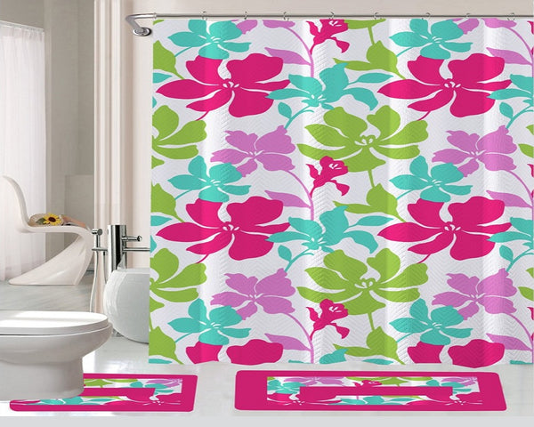 15 Piece Shower Curtain Set Tropical Pink