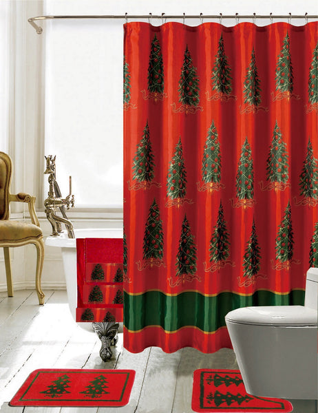 Christmas Bathroom Decor 18 Piece Shower Curtain woven bathmat Set