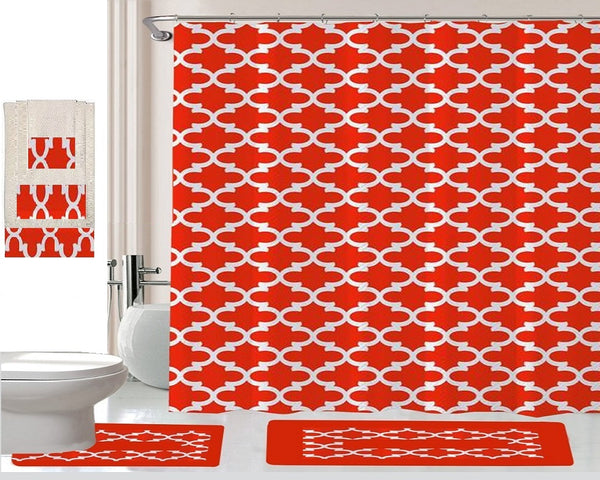 18 Piece Shower Curtain Set Addison Red