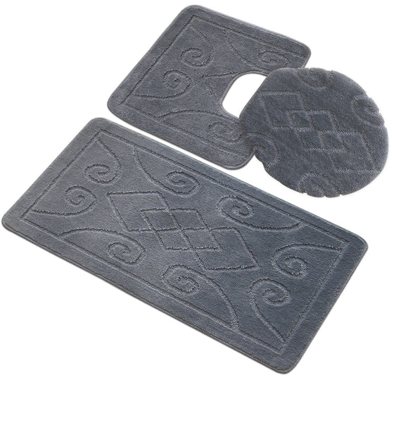 3 Piece Engraved Twist Bath Rug Set
