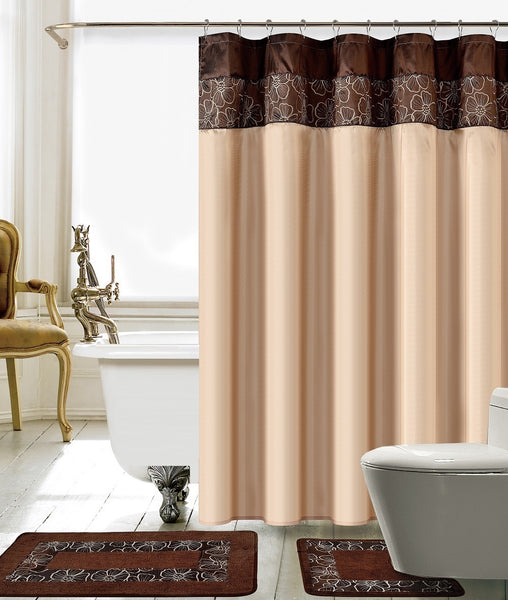 15PC Lillian Embroidery Shower Curtain Set