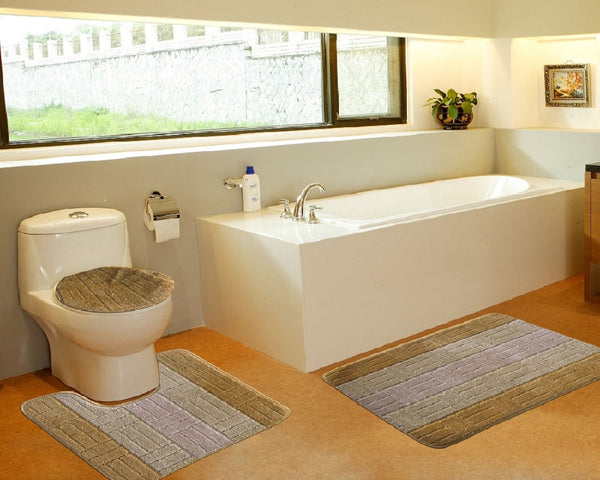 3 Piece Tiles Bath Mat Series