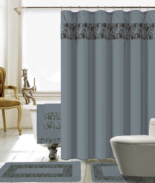 18PC Lillian Embroidery Shower Curtain Set