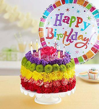 birthday-flower-cake-bright_gofruitCake w/ Balloon