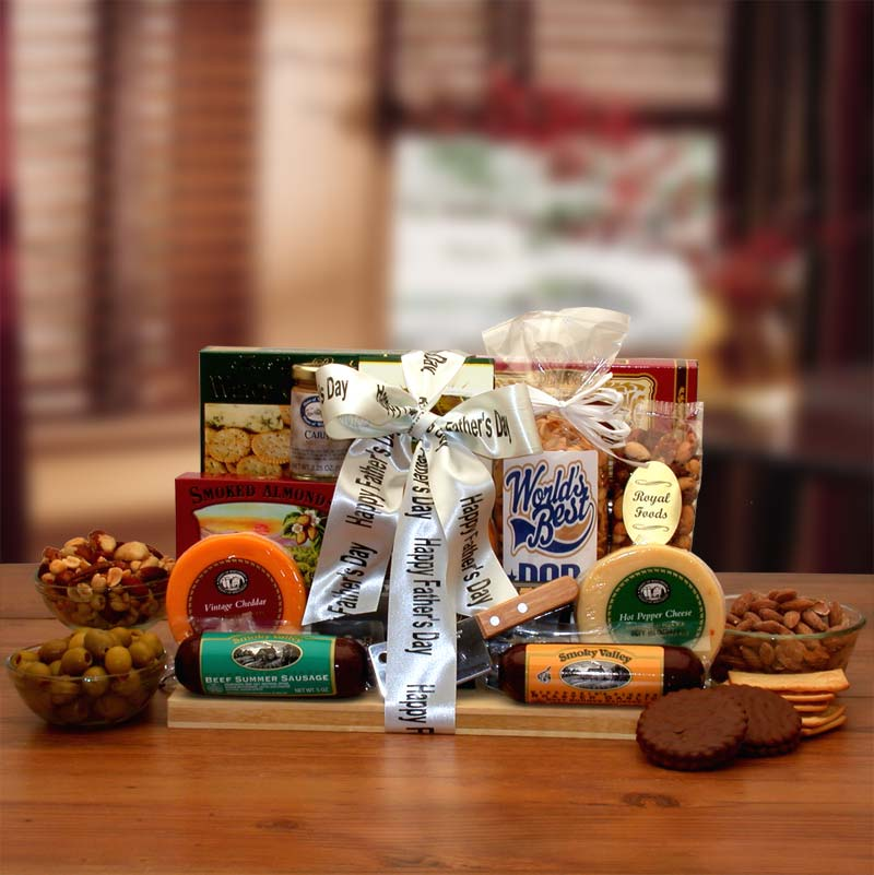 Fathers-Day-Ultimate-Gourmet-Nut-&-Sausage-BoardGift Basket - Gourmet Basket