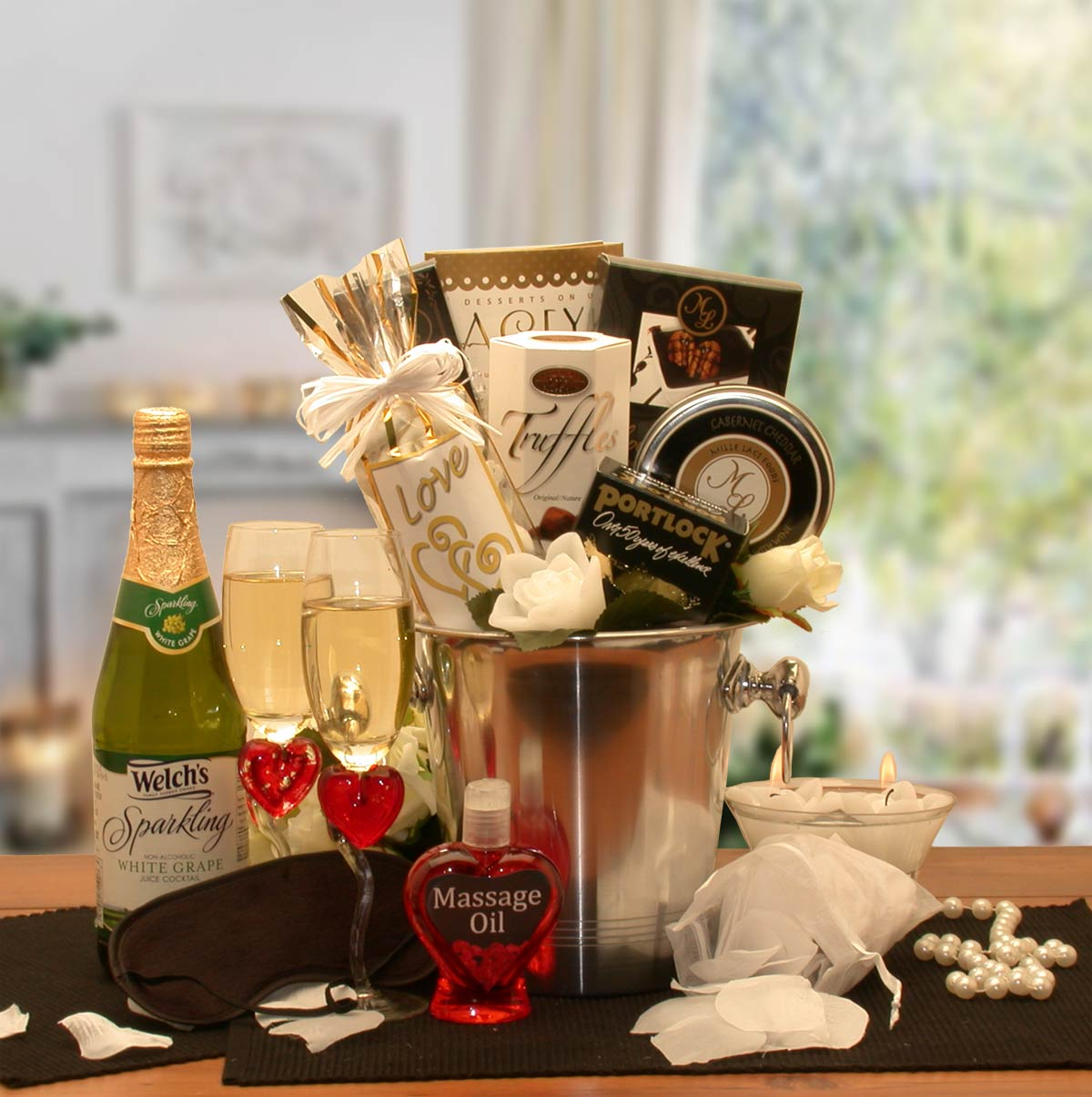 Deluxe-Romantic-Evening-For-Two-Gift-BasketGift Basket - Gourmet Basket